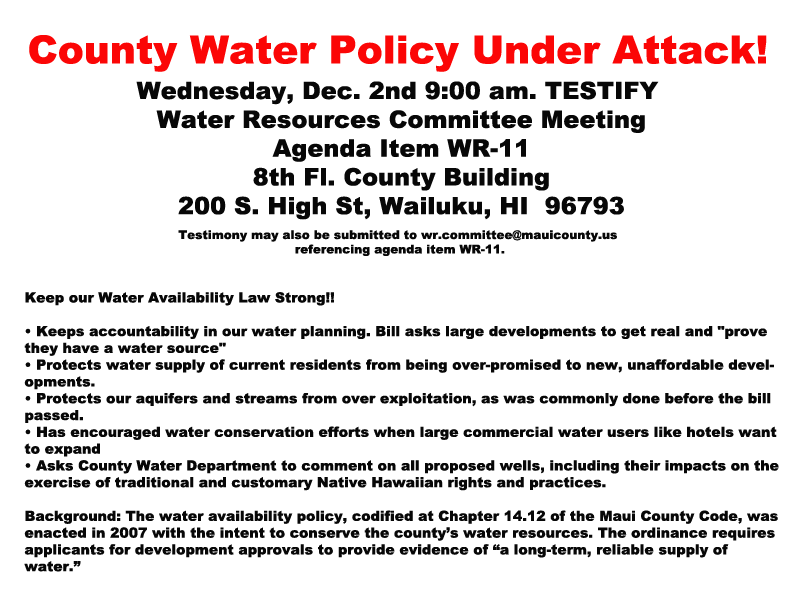 County Water Policy Under Attack!