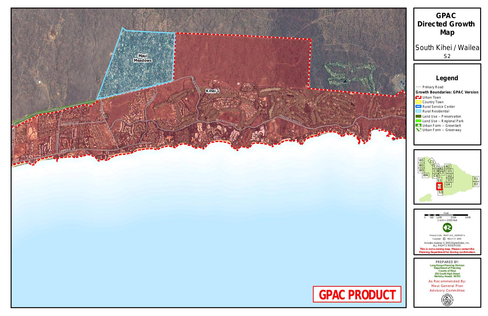 GPAC Directed Growth Map South Kihei Wailea Maui Tomorrow Foundation